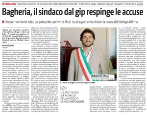 gds 26-09-2017 il Sindaco dal gip respinge le accuse