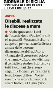 GDS 04/07/2021 Disabile, realizzate le discese a mare.