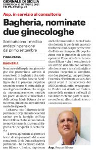 GDS 18/10/2021 Bagheria, nominate due ginecologhe
